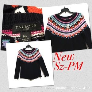 New Talbots Sz M petite colorful sweater ribbed